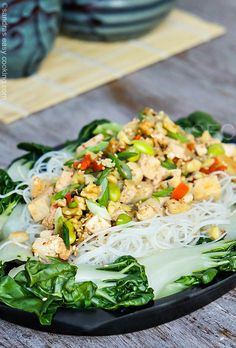 Rice Noodles With Tofu, Edamame and Bok Choy