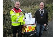 The Bodmin Lions Club donated £500 to the Cornwall Freewheelers, which will fund an additional bike used by volunteer couriers to transport blood, organs, breast milk and drugs during off hours. The service saves £150,000 each year in taxi fares and commercial courier costs.