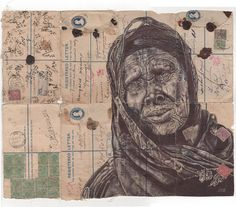 New Bic Ballpoint Pen Portraits on Vintage Maps and Stationery by Mark Powell | Colossal