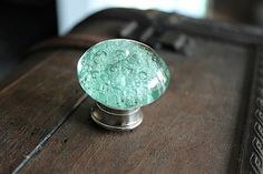 Glass Drawer Knob with bubbles in Mint Green and Silver toned Hardware (CK17) mint accent color on the dresser?