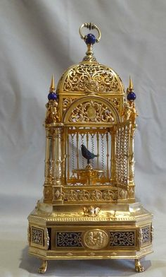 Antique Silver gilt and enamel singing bird cage. - German or Austro-Hungarian c.1910♥