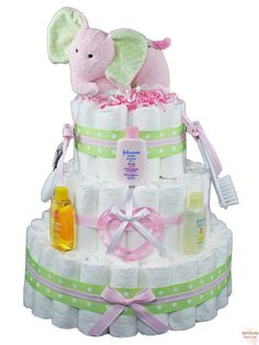 diaper+cakes | ... Diaper Cake--Rattlecake Introduces Our Musical Pink Elephant Diaper