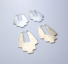 Desert Hoop Earrings in Silver with Sterling Silver by KnuckleKiss