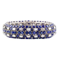 IMPRESSIVE OSCAR HEYMAN Sapphire Diamond and Platinum Bracelet, ca. 1960s