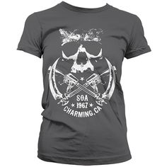 This is the one for ladies who love Sons of Anarchy but looking for something a bit different to the many SAMCRO tees out there. Much more understated in its promotion of the show, it has a little 'SOA 1967' logo and the text 'Charming, CA'. Only real fans of the series will spot this as a SAMCRO tee, everyone else will just see it as an awesome one! Official Sons of Anarchy merchandise.