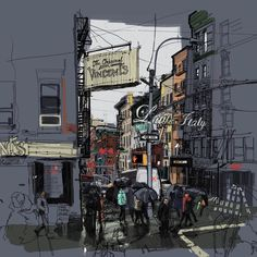 Little Italy, NYC. EDIT: Hand sketch with digital colouring by Hand Sketch, Sketch Drawing, Architecture Student, Architecture Design, Little Italy, Urban Sketching, Maine, Around The Worlds, Photo And Video