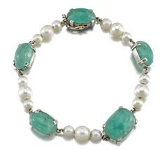 CULTURED PEARL AND EMERALD BRACELET, ASSEMBLED BY SUZANNE BELPERRON Designed as a series of cabochon emeralds alternating with cultured pearls