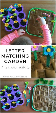Letter Matching Garden - Fine Motor Activity by tanisha Spring Activities, Literacy Activities, Preschool Activities, Physical Activities, Preschool Garden, Preschool Literacy, Simply Learning, Letter Matching, Spring Theme