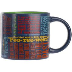 """Pour a cup and spend time with some great literary endings, from Beckett's """"I'll go on"""" to Cervantes' poignant """"Farewell"""". Not many people can guess them all, but don't worry there is a handy key on the base of the mug. Literary Gifts, Line, Literature, United States, America, Mugs, Tableware, Bookends, Cushions"""
