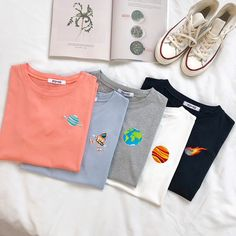 Space Embroidery T-Shirts 5 Designs Embroidery On Clothes, Embroidered Clothes, Embroidery On Tshirt, Diy Fashion, Ideias Fashion, Fashion Outfits, T-shirt Broderie, Aesthetic T Shirts, Mothers Day Shirts