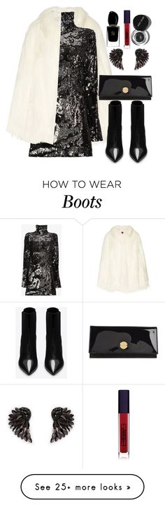 """""""black"""" by elly-852 on Polyvore featuring House of Fluff, Halpern, Henri Bendel, Yves Saint Laurent, Jimmy Choo, Giorgio Armani, Lipstick Queen and Bobbi Brown Cosmetics"""