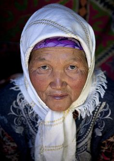 Old Veiled Woman, Kyzart River, Kyrgyzstan by Eric Lafforgue, via Flickr