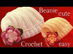 Gorro en punto de churros con flores tejido a Crochet o Ganchillo - YouTube