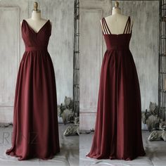 2015 Wine Bridesmaid dress, Long V neck Wedding dress, Ruched Backless Party dress, Formal dress, Prom Dress floor legnth (F068) by RenzRags on Etsy https://www.etsy.com/listing/217141958/2015-wine-bridesmaid-dress-long-v-neck