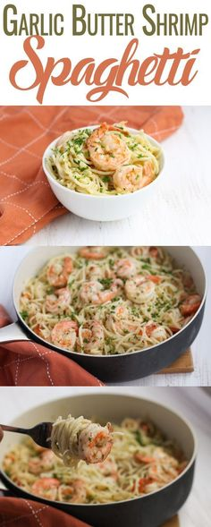 Savory, succulent Garlic Butter Shrimp Spaghetti paired with a light and airy spaghetti – an easy and quick dish for the weekday menu. Clean Eating Recipes, Healthy Eating, Cooking Recipes, Healthy Recipes, Healthy Dinners, Healthy Food, Shrimp Spaghetti, Spaghetti Recipes, Shrimp Pasta