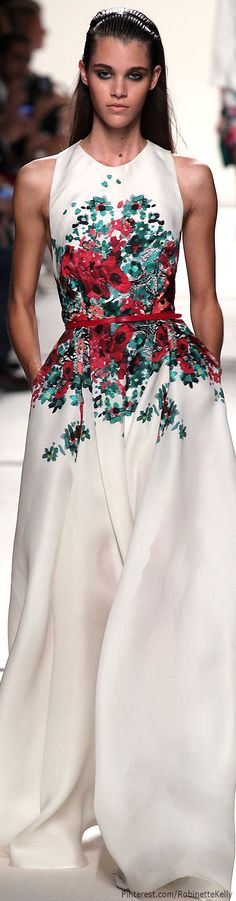 """my waist is so beautiful it blooms flowers"" Elie Saab | S/S 2014 RTW♥✤ | Love the neck/sleeve line"