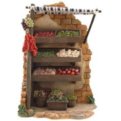 Amazon.com: 7.5 Inch Fontanini 5 piece Produce Stand 50818: Home & Kitchen Christmas Village Display, Christmas Nativity Scene, Christmas Villages, Fontanini Nativity, Twig Furniture, Produce Stand, Modelos 3d, Fairy Garden Houses, Miniature Crafts