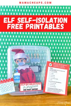 2020 is like no other year we have ever experienced, right?! Well check this out - not only are these quarantine elf printables fun and FREE.. they also keep your family elf on the shelf in one spot for 2 WHOLE WEEKS!! Get our printable kit which includes masks, scenery, a countdown calendar, and a travel and symptom checklist. We have spent so much time in quarantine this year - it's only fitting that the elf does the same! #elfontheshelf #printable #christmas #quarantine #mamacheaps The Elf, Elf On The Shelf, Countdown Calendar, Shelf Ideas, Christmas Holidays, Free Printables, Masks, Scenery, Self