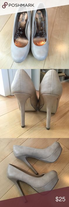 Nude platform heels Gorgeous nude high heels- you'll have legs for days! EUC minimal wear except Very Few minor scuffs. Color is nude in the 2nd and 3rd pic- the first one looks a little grey. Reasonable offers welcome brash Shoes Heels
