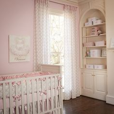 Pink and Taupe Damask Drapes  nursery decor