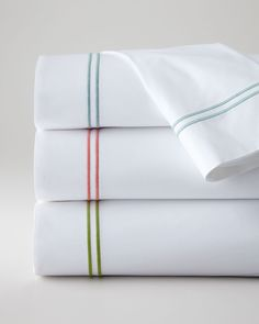 King New Resort 200TC Satin-Stitched Flat Sheet, White/Blue