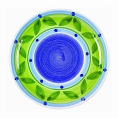 """Caleca Bluemoon 4 piece salad plate set by Caleca. $40.13. Indigo blue, sky-blue and apple green Caleca pattern """"Bluemoon"""" that creates strong effects of Mediterranean nature and the ocean atmosphere of Sicily in its design; Ideal for that impressive presentation at the table. Includes four art; 407 salad plates. Chip-resistant. Dishwasher safe; microwavable. All natural majolica/ceramic components individually hand-painted with non-toxic glazes and colors. Indigo blue, sky-blue ..."""