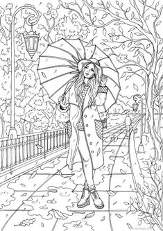 Fall - Printable Adult Coloring Page from Favoreads (Coloring book pages for adults and kids, Coloring sheets, Colouring designs) Detailed Coloring Pages, Fall Coloring Pages, Printable Adult Coloring Pages, Adult Coloring Book Pages, Animal Coloring Pages, Coloring Pages To Print, Free Coloring, Coloring Sheets, Coloring Books