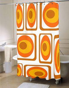 Mod Orange Shower Curtain, Mid Century Modern Shower Curtain #showercurtainu2026