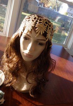 Flapper Headband, Gatsby Hat, Juliet Style Lace Cap, Gold Flapper Headband, Gypsy Headband, Costume, 20s Flapper Hat