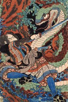 The suicide of morozumi Masakiyo by Utagawa Kuniyoshi. Ukiyo-e. genre painting