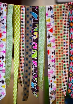 Homemade Ribbons: what a good idea to do with the extra inches of full width fabric that collect after cutting out a project.  Combine with the post with the homemade biased tape and this might be just perfect sans all the ironing.