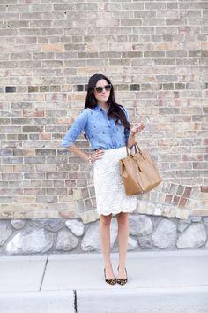 J.Crew chambarey shirt, Ann Taylor lace skirt, Prada bag #StreetStyle