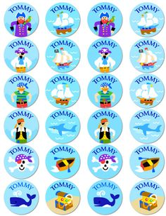 Pirates Personalized Round Waterproof Labels