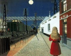 """Paul Delvaux a Belgian painter associated with Surrealism Loneliness 1956 Paul Delvaux, Night Pictures, Art Pictures, Rene Magritte, Richard Diebenkorn, Magic Realism, Painting Gallery, Macau, Loneliness"