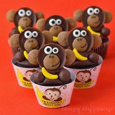 "Valentine's Day ""I'm Bananas About You"" Cupcakes Topped with Reese's Cup Monkeys"
