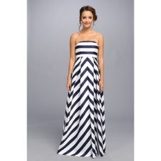 """Jessica Simpson Maternity Chevron Maxi Dress Adorable and highly coveted chevron maternity dress by Jessica Simpson. Navy and white chevron with removable spaghetti straps. My dress has been hemmed for length and will fit if you are 5'6"""" or shorter. Jessica Simpson Dresses Maxi"""