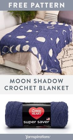 Free Moon Shadow Crochet Blanket pattern using Red Heart Super Saver yarn. Follow the phases of the moon under the comfort of this crochet blanket! Different motifs make up the central design with crochet colorwork strips depicting each moon phase. It's a unique gift for anyone into the stars! #Yarnspirations #FreeCrochetPattern #CrochetBlanket #CrochetThrow #CrochetAfghan #CrochetMotifs #RedHeartYarn #RedHeartSuperSaver Crochet Motifs, Crochet Cross, Knit Or Crochet, Free Crochet, Afghan Patterns, Crochet Blanket Patterns, Crochet Heart Blanket, Moon Shadow, Super Saver