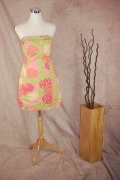 Lilly Pulitzer Tropical Punch Strapless Dress 10 Pink Green Pineapples