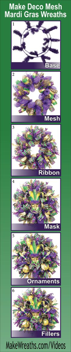 """SAVE MONEY AND MAKE YOUR OWN!...Learn step-by-step how to make SPECTACULAR Deco Mesh Mardi Gras Wreaths. Learn to make a perfect base using THREE types of mesh, add ribbon, masks, ornaments and throw beads.  List of supplies and vendors included. Click the picture to get FULL ACCESS... #decomesh #wreaths #DIY #mardigras"