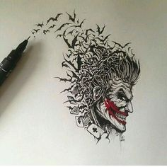 Found this Joker drawing from last year while clearing some space on my desk today. This was done during the time I was commissioned by THE Chip Kid to. Joker Tattoos, Batman Tattoo, Der Joker, Joker Art, Joker Batman, Batman Art, Comic Books Art, Comic Art, Book Art