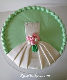 Wedding Dress Bridal Shower Cake | http://rosebakes.com/wedding-dress-bridal-shower-cake/