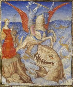 Bibliothèque nationale de France, Français 606 f. 4v. Christine de Pizan, Epitre dOthea. Paris, c.1406. Perseus rescuing Andromeda from a sea monster.In reality, its an early depiction of Godzilla.