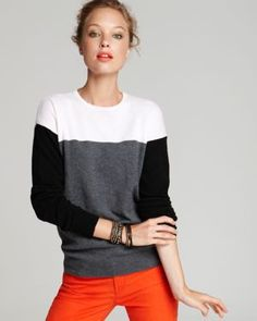 color block sweater. plain on top. bold on bottom.