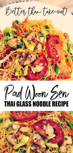 Pad Woon Sen is smooth glass noodles stir-fried with chicken, long beans, and other crunchy vegetables for contrast. A delicious alternative to the popular Pad Thai. #padthai #noodles #noodlerecipes #dinner #thairecipes  #thaifood  #thai Asian Recipes, Side Dish Recipes, Beef Recipes, Dinner Recipes, Cooking Recipes, Healthy Recipes, Stir Fry Recipes, Noodle Recipes, Unique Recipes