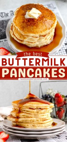 Buttermilk Pancakes are light, fluffy, and melt in your mouth! Serve them warm with butter and maple syrup and you will be in pancake heaven! Pin this easy breakfast recipe or brunch recipe! Healthy Oatmeal Recipes, Best Breakfast Recipes, Brunch Recipes, The Best Buttermilk Pancake Recipe, Buttermilk Pancakes, Freeze Pancakes, How To Make Pancakes, Strawberry Banana Smoothie, Strawberry Cakes