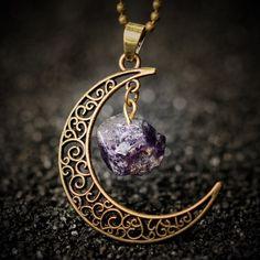 Старинные луна ожерелье нерегулярные природный камень ожерелья шкентеля аметист розовый кварц кристаллы антикварные бронзовые цепи ювелирных изделий купить на AliExpress