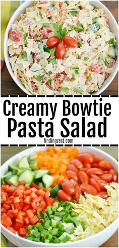 This creamy bowtie pasta salad is loaded with veggies and flavor but is a super easy pasta salad recipe! Serve this cold pasta salad at your next family get together. Works great for summer cookouts and potlucks. With this pasta salad with no mayo, keep guests guessing on what makes this creamy dressing so amazing! #pastasalad #bowtie #barbeque #potluck #pastasalad #vegetarian #vegetables #sidedish #easyrecipe