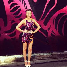Samantha Jade looking AMAZING in the Fairground Scuba dress in floral, available from Unwritten Clothing now!! Go Sammi!
