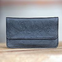 Leather wallet, 'Simply Black'