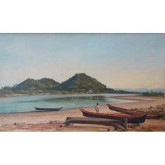 BENEDITO CALIXTO - Praia de São Vicente - OST CID - 30 x 50 cm.   beneditocalixto  painting  art  gallery  auction  luxury  decor f5b060b3e466c